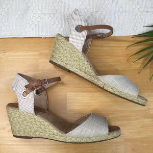 Lucky Brand Kyndra Tan Espadrille Wedge Sandals 10